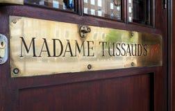 Bandera del detalle de la puerta de entrada de señora Tussaud Foto de archivo