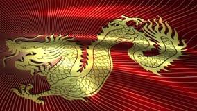 Bandera del dragón chino de oro