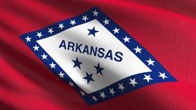 Bandera del estado de Arkansas en los Estados Unidos de América, los E.E.U.U., soplando en el viento aislado Diseño abstracto pat stock de ilustración