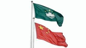 Bandera del estado de Macao y de China almacen de metraje de vídeo