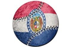 Bandera del estado de Missouri del béisbol Béisbol del fondo de la bandera de Missouri foto de archivo libre de regalías