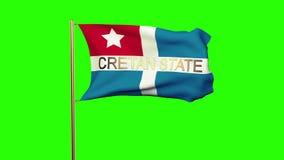 Bandera del estado del Cretan con el título que agita en el viento stock de ilustración