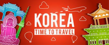 Bandera del estilo colorido, del viaje y del turismo de la silueta famosa de la señal de Corea stock de ilustración