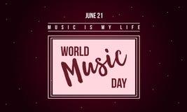 Bandera del estilo de la celebración del día de la música del mundo libre illustration