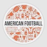 Bandera del fútbol americano con la línea iconos de bola, campo, jugador, silbido, casco Fotos de archivo libres de regalías