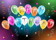 Bandera del feliz cumpleaños con las flámulas y el confeti coloridos de los globos stock de ilustración