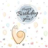 Bandera del feliz cumpleaños en fondo festivo con los globos, corazones, flores, espirales que dibujan la línea fondo Vec del bos ilustración del vector