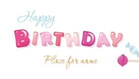 Bandera del feliz cumpleaños Letras brillantes dulces aisladas en blanco Fotos de archivo libres de regalías