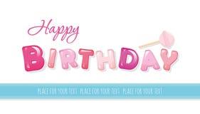 Bandera del feliz cumpleaños Letras brillantes dulces aisladas en blanco Con el espacio de la copia para su texto Fotos de archivo libres de regalías