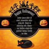 Bandera del feliz Halloween con saludos y la muestra Foto de archivo libre de regalías