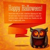 Bandera del feliz Halloween o tarjeta de felicitación linda encendido Imagenes de archivo