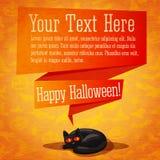 Bandera del feliz Halloween o tarjeta de felicitación retra linda Imagen de archivo