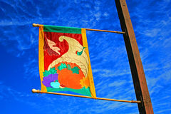 Bandera del festival de la cosecha con el cielo azul Imagen de archivo