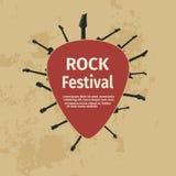 Bandera del festival de la roca con las guitarras y la púa Foto de archivo