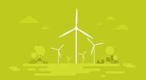 Bandera del fondo de la naturaleza del recurso de la generación de la energía alternativa de la estación del viento ilustración del vector