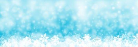 Bandera del fondo de la Navidad, nieve y ejemplo del copo de nieve, ilustración del vector