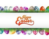Bandera del fondo de Pascua con los huevos en la hierba Imagenes de archivo