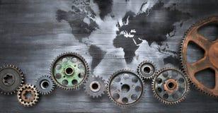 Bandera del fondo del mapa del mundo stock de ilustración