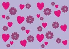Bandera del fondo del modelo de flores de los corazones n Foto de archivo