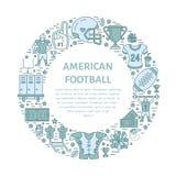 Bandera del fútbol americano con la línea iconos de la bola, del campo, del jugador, del silbido, del casco y del otro equipo de  Fotos de archivo
