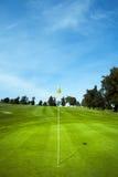 Bandera del golf en agujero verde Fotos de archivo libres de regalías
