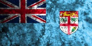 Bandera del grunge de Fiji en la pared sucia vieja Fotografía de archivo