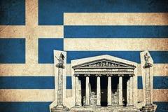 Bandera del Grunge de Grecia con el monumento Foto de archivo libre de regalías