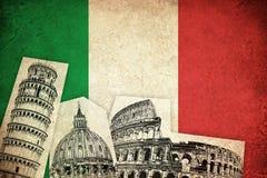 Bandera del Grunge de Italia con los monumentos ilustración del vector