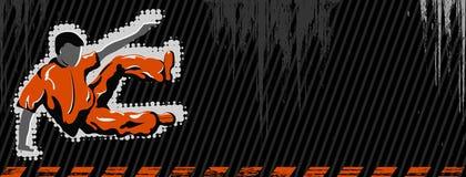 Bandera del grunge del vector con el muchacho de salto libre illustration