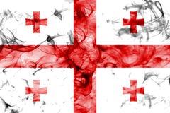 Bandera del humo de Georgia aislada en un fondo blanco Imagen de archivo