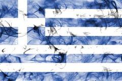 Bandera del humo de Grecia aislada en un fondo blanco Imagenes de archivo