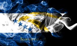 Bandera del humo de Johnston Atoll, bandera dependiente del territorio de Estados Unidos foto de archivo libre de regalías