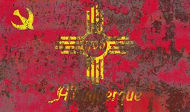 Bandera del humo de la ciudad de Albuquerque, estado de New México, Estados Unidos de Fotografía de archivo