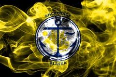 Bandera del humo de la ciudad de Anchorage, estado de Alaska, Estados Unidos de Americ Imágenes de archivo libres de regalías