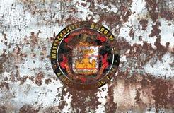Bandera del humo de la ciudad de Bridgewater, estado de Massachusetts, Estados Unidos Fotografía de archivo