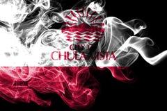 Bandera del humo de la ciudad de Chula Vista, estado de California, los Estados Unidos de América stock de ilustración