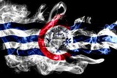 Bandera del humo de la ciudad de Cincinnati, estado de Ohio, los Estados Unidos de América imagen de archivo