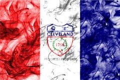 Bandera del humo de la ciudad de Cleveland, estado de Ohio, los Estados Unidos de América Foto de archivo