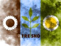 Bandera del humo de la ciudad de Fresno, estado de California, Estados Unidos de Ameri stock de ilustración