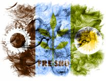 Bandera del humo de la ciudad de Fresno, estado de California, Estados Unidos de Ameri imágenes de archivo libres de regalías