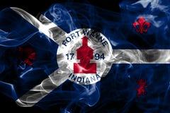 Bandera del humo de la ciudad de fuerte Wayne, Indiana State, Estados Unidos de Amer Imagen de archivo
