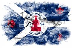 Bandera del humo de la ciudad de fuerte Wayne, Indiana State, Estados Unidos de Amer imagenes de archivo