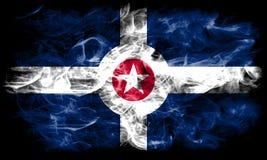 Bandera del humo de la ciudad de Indianapolis, Indiana State, los Estados Unidos de América imagen de archivo