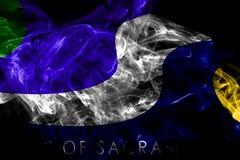 Bandera del humo de la ciudad de Sacramento, estado de California, los Estados Unidos de Am?rica stock de ilustración