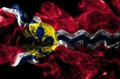Bandera del humo de la ciudad del Saint Louis, estado de Missouri, Estados Unidos de la  foto de archivo