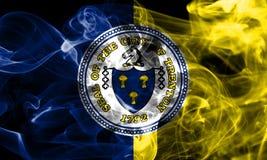 Bandera del humo de la ciudad de Trenton, estado de New Jersey, Estados Unidos de Amer Imagenes de archivo