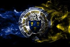 Bandera del humo de la ciudad de Trenton, estado de New Jersey, Estados Unidos de Amer stock de ilustración