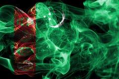 Bandera del humo de Turkmenistán, estado soberano en Asia Central imagen de archivo libre de regalías