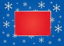 Bandera del invierno con el fondo azul marino, copos de nieve y un rectángulo rojo grande para el texto Foto de archivo libre de regalías
