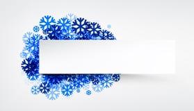 Bandera del invierno con los copos de nieve azules Foto de archivo libre de regalías